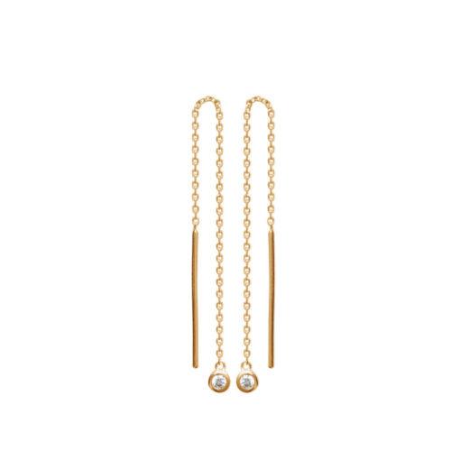 Boucles d'oreilles Plaqué or Chaines et Serti Clos 1