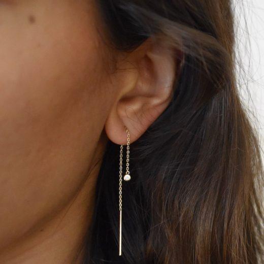 Boucles d'oreilles Plaqué or Chaines et Serti Clos 2