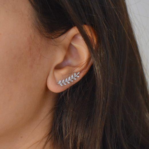 Boucles d'oreilles Montantes Argent 925 Serties Epi 3