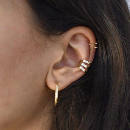 Bague d'oreille Plaqué Or Billes 3