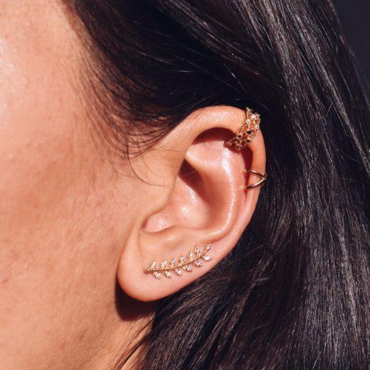Bague d'oreille Plaqué Or Tresse Zircon 2