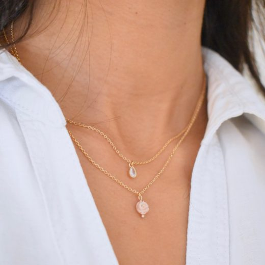 Collier Plaqué Or Rose Nacre 2