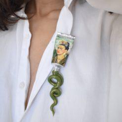 Broche Niki Boden Paint Frida Kahlo Vert 3