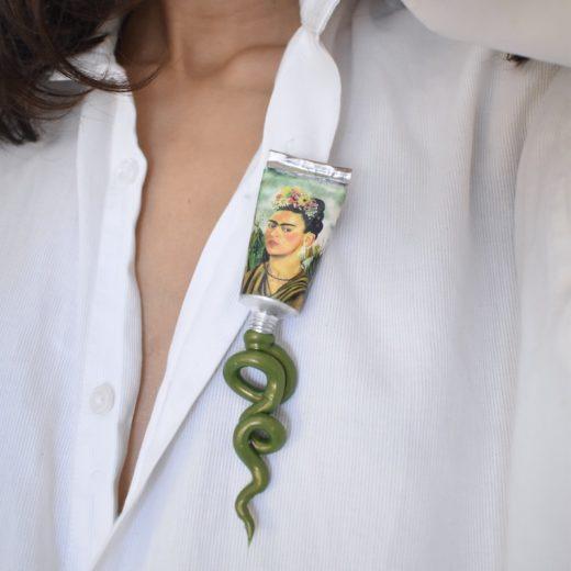 Broche Niki Boden Paint Frida Kahlo Vert 2