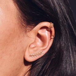 Boucles d'oreilles Montantes Plaqué Or Serties Epi 5