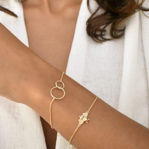 Bracelet Plaqué Or Deux Cercles 2
