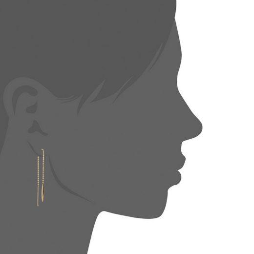 Boucles d'oreilles Plaqué Or Chaines Pendule 3