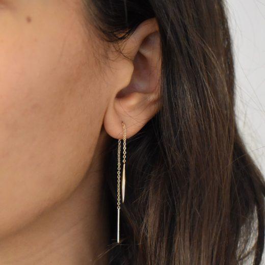 Boucles d'oreilles Plaqué Or Chaines Pendule 4
