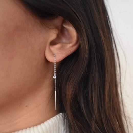 Boucles d'oreilles Argent 925 Chaines et Serti Clos 2