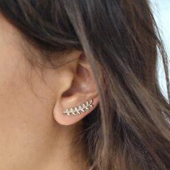 Boucles d'oreilles Montantes Plaqué Or Epi Sans Zircons 4