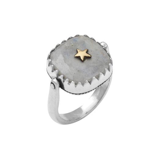 Bague Argent 925 Canyon Revers étoile Pierre de Lune 1
