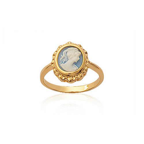 Bague Plaqué or Camée Céramique Bleu 1