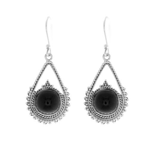 Boucles d'Oreilles Argent 925 Black Star Onyx 1
