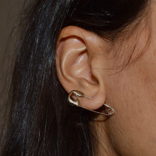 Boucle d'oreille Plaqué Or Epingle à Nourrice 2