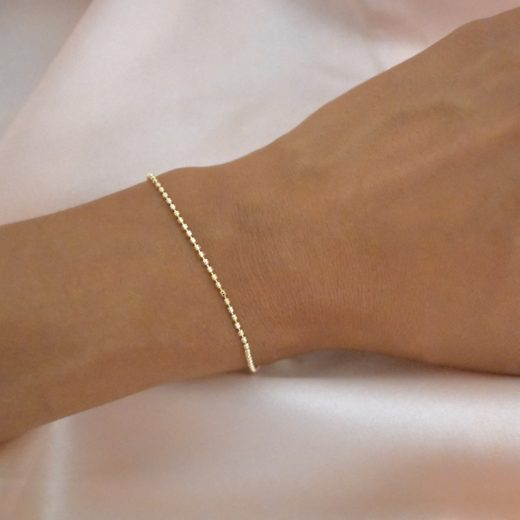 Bracelet Plaqué Or Billes Strillées 2