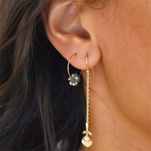 Boucles d'oreilles Plaqué Or Roses Longues 2