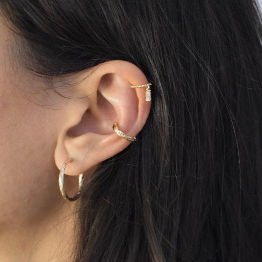 Bague d'oreille Plaqué Or As Zircon Baguette 2