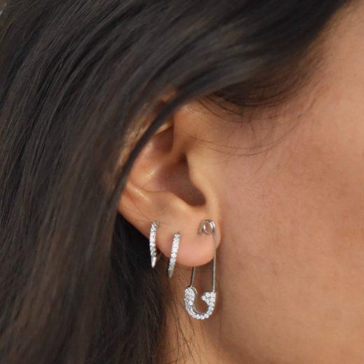 Boucle d'oreille Argent 925 Epingle Zircons 2