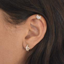 Bague d'oreille Plaqué Or Feu Blanc 4