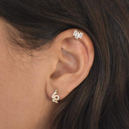 Bague d'oreille Plaqué Or Feu Blanc 2
