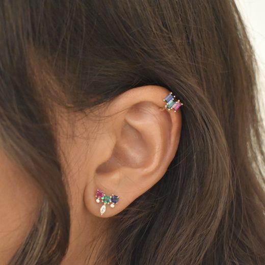 Bague d'oreille Plaqué Or Feu Vert 2