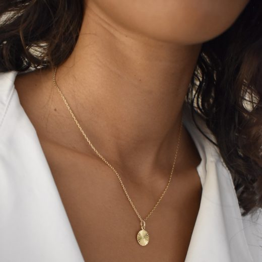 Collier Plaqué Or Medaille Rayons S 2