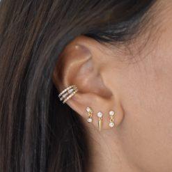 Bague d'oreille Plaqué Or Triple Zirc 4