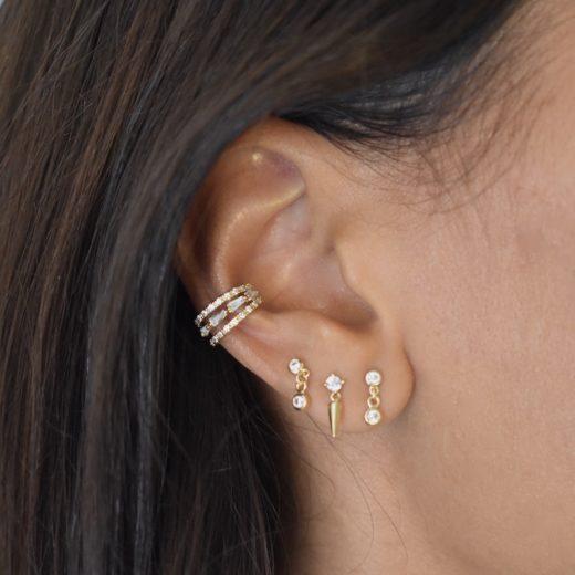 Bague d'oreille Plaqué Or Triple Zirc 2