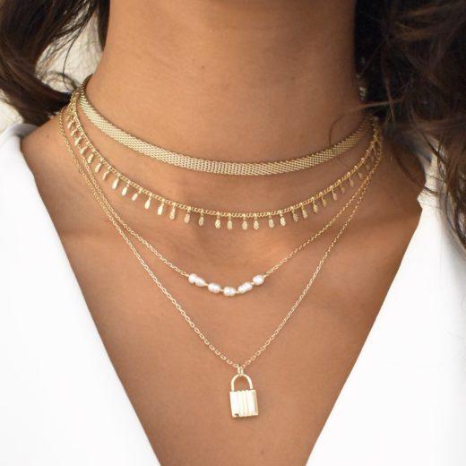 Collier Plaqué Or Perles Naturelles V 2