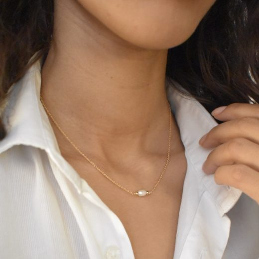 Collier Plaqué Or Perle Naturelle 2