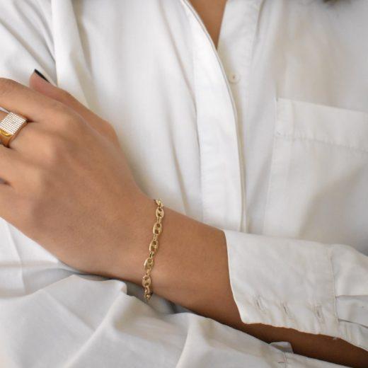 Bracelet Plaqué Or Chaine Graine de Café 2