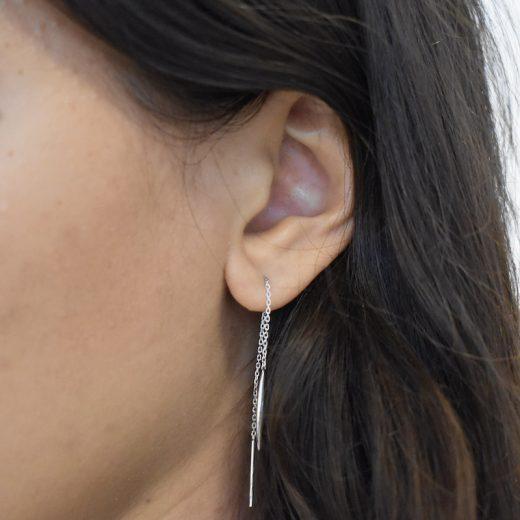 Boucles d'oreilles Argent 925 Chaines Pendule 2